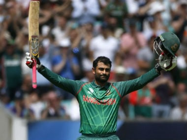 Tamim Iqbal celebrates his century against England in Champions Trphy 2017. Reuters
