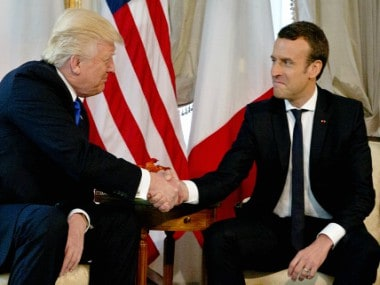 US president Donald Trump and French president Emmanuel Macron. AP