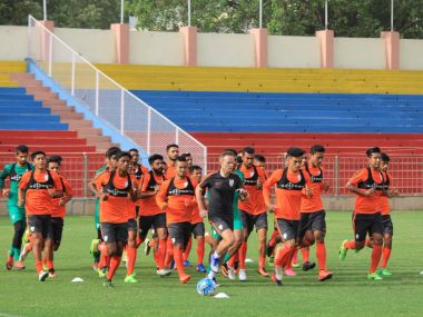 The Indian U-23 team at a training session with coach . Photo courtesy: Twitter.com/@IndianFootball