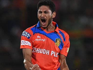 Gujarat Lions' Basil Thampi celebrates a wicket in this file photo. AFP