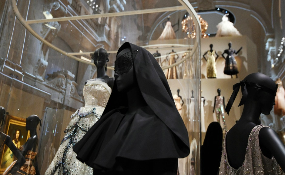 Dresses are pictured during the Dior exhibition that celebrates the seventieth anniversary of the Christian Dior fashion house. Photo: AFP