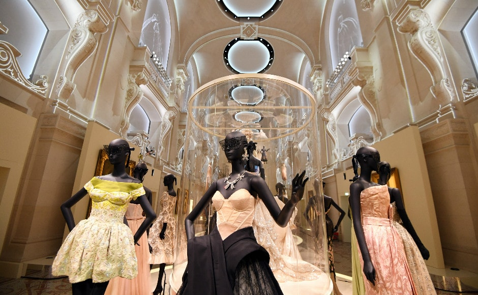 Dresses are pictured during the Dior exhibition that celebrates the seventieth anniversary of the Christian Dior fashion house