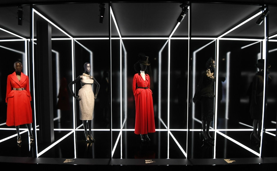 Dresses are pictured during the Dior exhibition that celebrates the seventieth anniversary of the Christian Dior fashion house on 3 July 2017 in Paris. Photo: AFP