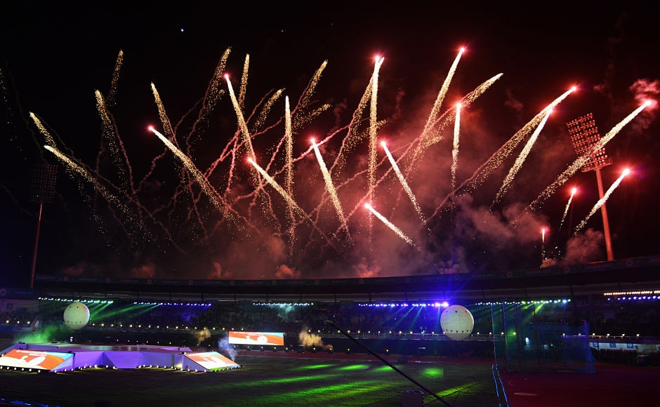 Fireworks explode during the opening ceremony of the 22nd Asian Athletics Championships at Kalinga Stadium in Bhubaneswar. AFP