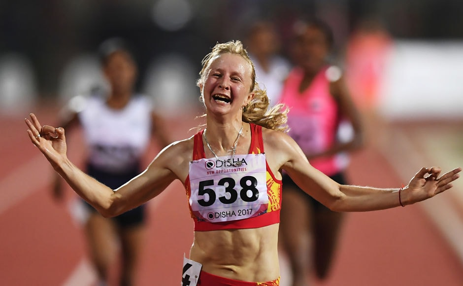 Kzakhstan athlete Darya Maslova celebrates after winning the women's 5000m at the 22nd Asian Athletics Championships. AFP
