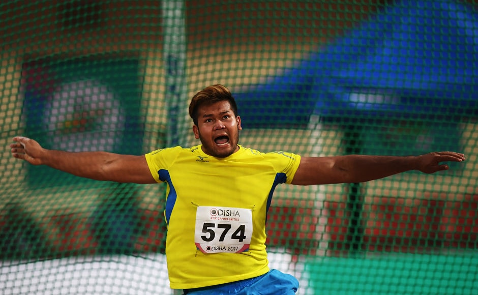 Malaysian Athlete Muhammad Irfan competes in the men's discus throw event at the 22nd Asian Athletics Championships. AFP
