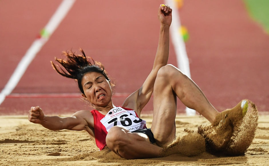 Vietnam's Bui Thi Thu placed first in the the women's Long Jump at the 22nd Asian Athletics Championships. AFP