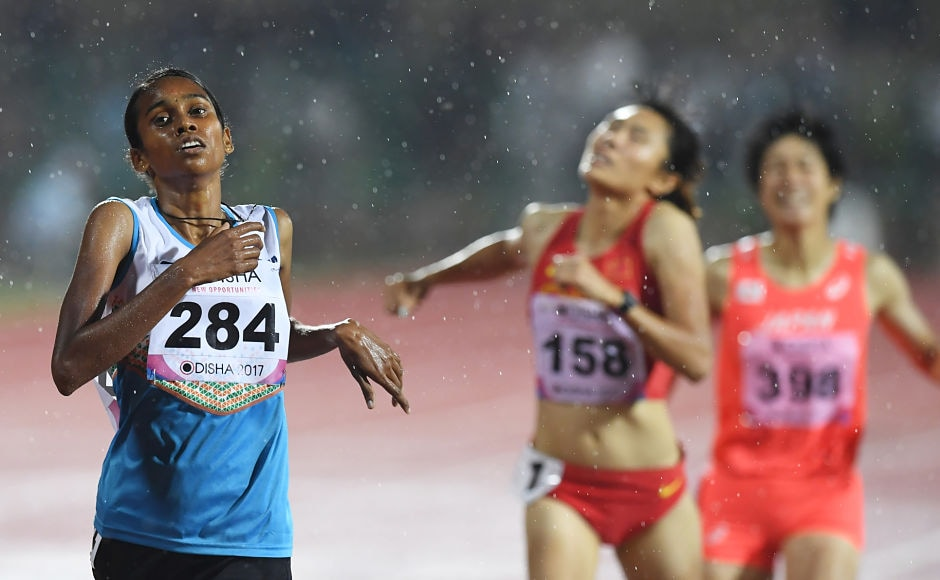 PU Chitra won gold medal in the women's 1500m event. AFP