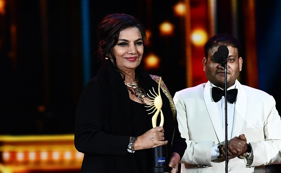"""Winner of Performance in a Supporting Role - Feamle, Shabana Azmi for """"Neerja"""" accepts the award during 18th International Indian Film Academy (IIFA) Festival at the MetLife Stadium in East Rutherford, New Jersey, on July 15, 2017. / AFP PHOTO / JEWEL SAMAD"""
