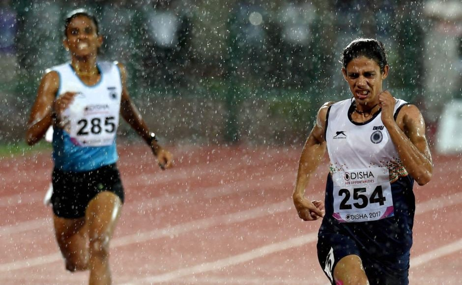 India's Nirmala Sheoran (R) won the gold in the Women's 400m event at the 22nd Asian Athletics Championships in Bhubaneshwar, Odisha on Friday. PTI