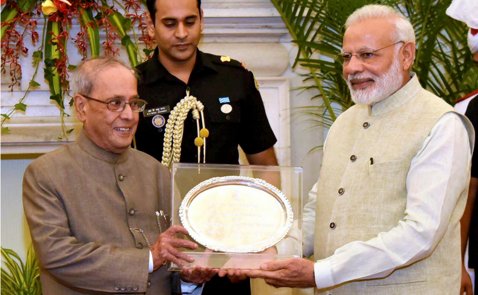 Prime Minister Narendra Modi hosted a farewell dinner for President Pranab Mukherjee as the latter gets ready to leave office, and presented him with a memento on the occasion on Saturday. PTI