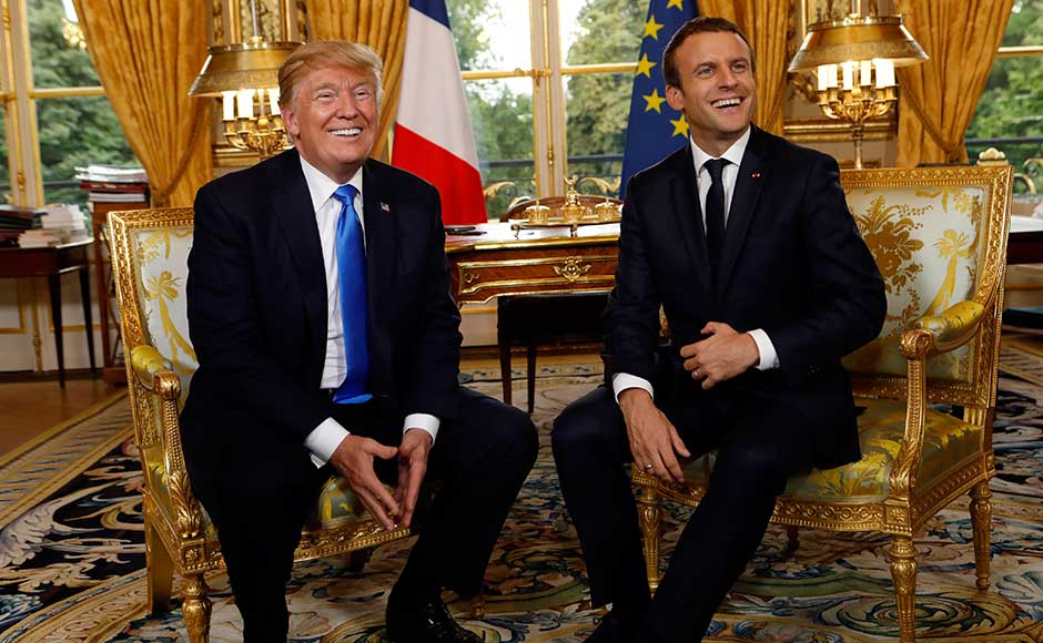 French president Emmanuel Macron rolled out the red carpet to welcome Donald Trump to Paris on Thursday for an overseas trip the White House hopes will offer respite from a growing scandal back in the US. AP