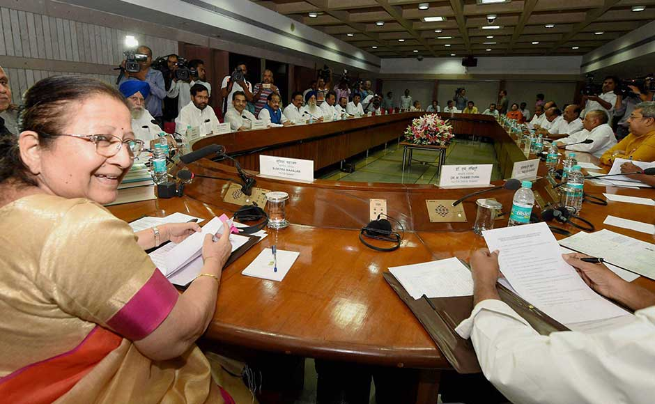 All political parties of the country met on Sunday, a day ahead of the Monsoon Session of Parliament. The NDA government is preparing to face an Opposition bloc of 18 parties on a host of issues, including GST, Sikkim standoff, cow vigilantism and other issues. Lok Sabha Speaker Sumitra Mahajan presided over the all-party meeting in the capital on Sunday. PTI