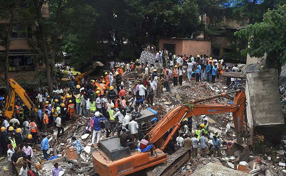 A four-storey residential building collapsed in Mumbai's Ghatkopar suburb on Tuesday morning, killing 17 people and injuring 11 others as rescue operations remain underway. PTI