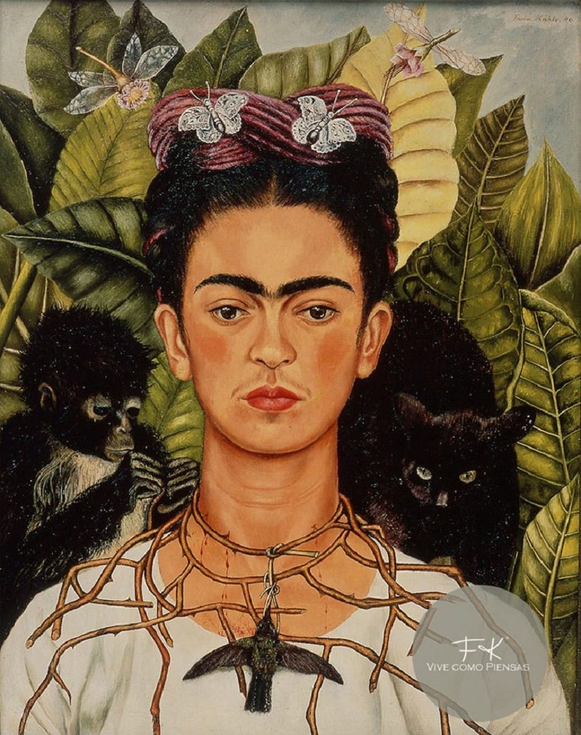 Self-Portrait with Thorn Necklace and Hummingbird. Image from Facebook