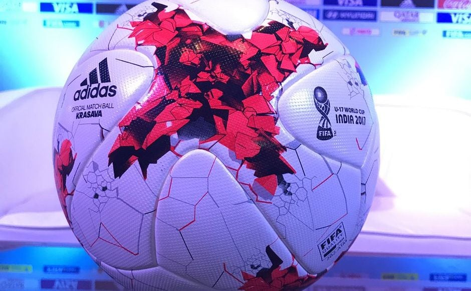The official match ball for the FIFA U-17 World Cup, 'Krasava.' Image courtesy: Twitter.com/@fifacom