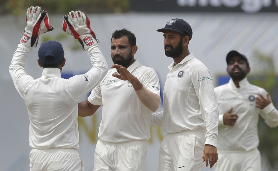Set a daunting 550 to win, Sri Lanka lost their first wicket in the third over when India's Mohammed Shami bowled Upul Tharanga. AP