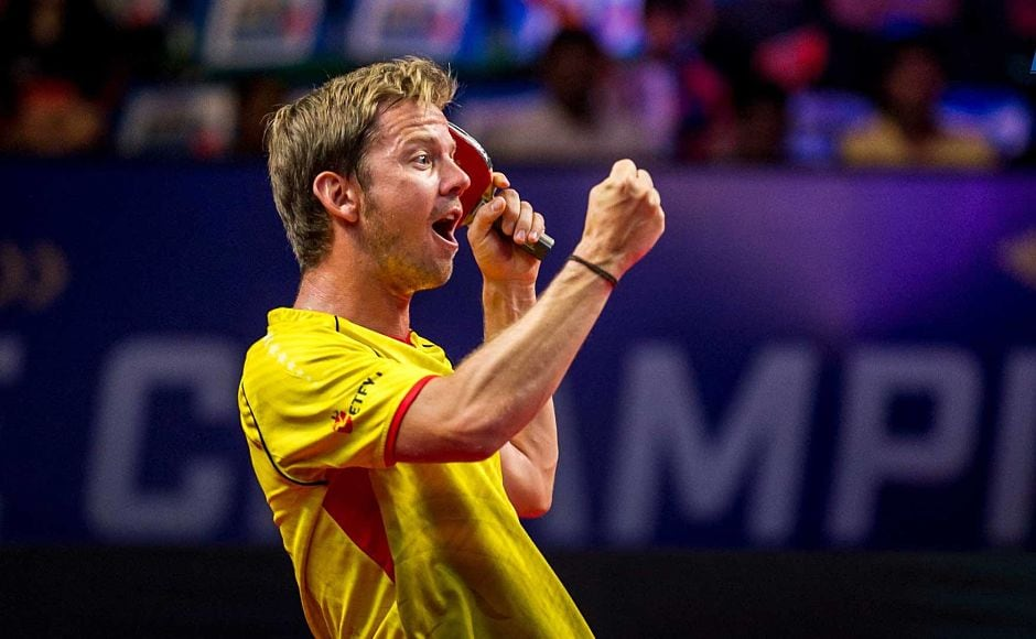 Falcons TTC captain Pär Gerell is ecstatic after beating Tomislav Pucar 2-1 in Match 4. Image Courtesy-Facebook: @UltimateTableTennis