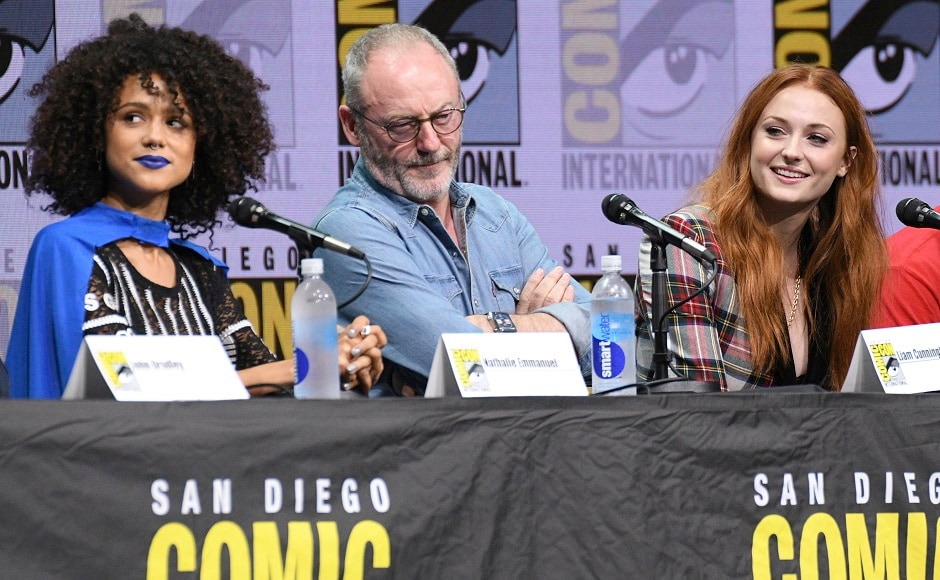 Nathalie Emmanuel, from left, Liam Cunningham, and Sophie Turner attend the Game of Thrones panel on day two of Comic-Con International on Friday, 21 July, 2017, in San Diego. Photo by AP