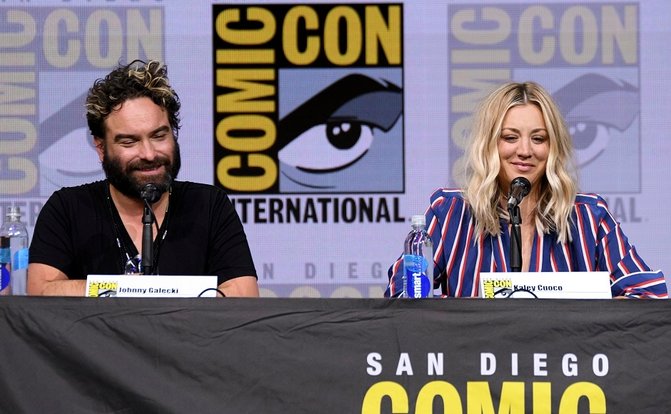 Johnny Galecki, left, and Kaley Cuoco attend The Big Bang Theory panel on day two. Photo by AP