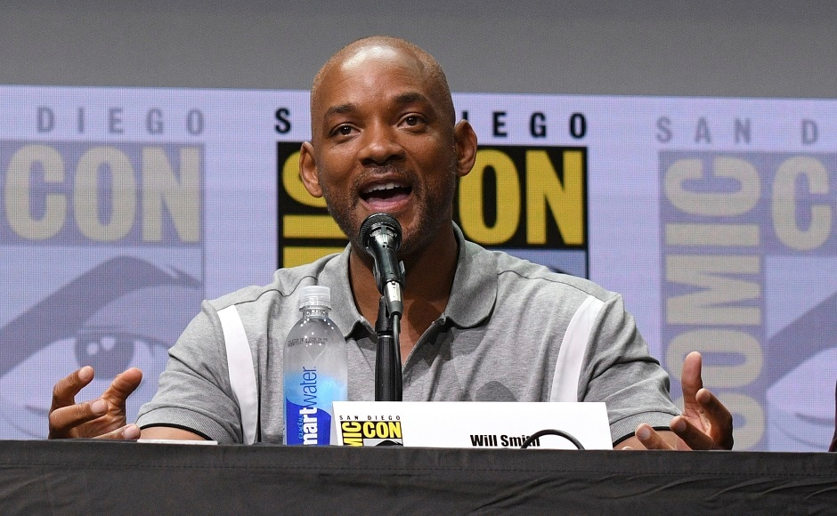 Will Smith speaks at the Netflix Films' Bright panel on day one. Photo AP