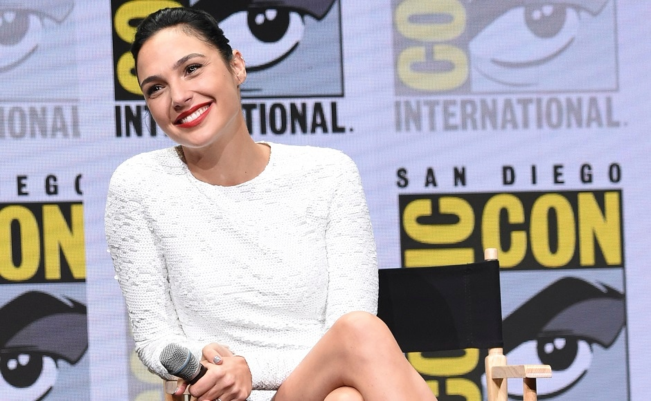 Gal Gadot attends the Warner Bros. Justice League panel on day three of Comic-Con International in San Diego. Photo by AP
