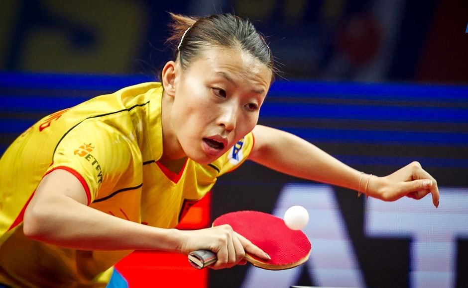 Wu Yang in action against Manika Batra. Image Courtesy-Facebook: @UltimateTableTennis