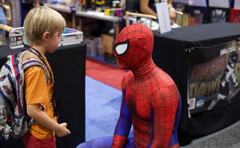 A child talks to a cosplayer dressed as Spider-Man. Image from Facebook