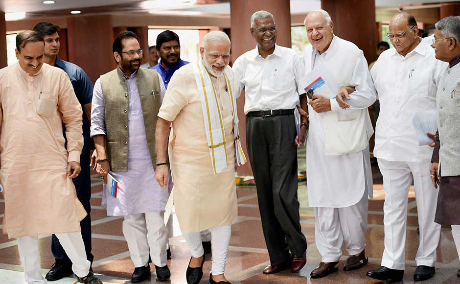 "Seeking to blunt the Opposition's attack over cow vigilantism, Prime Minister Narendra Modi sought to put the onus on checking ""hooliganism"" of state governments, insisting that they take ""stringent action"" against them. Prime Minister Narendra Modi met NCP chief Sharad Pawar, National Conference president Farooq Abdullah, CPI's D Raja, and parliamentary affairs minister Ananth Kumar and minister of state Mukhtar Abbas Naqvi. PTI"