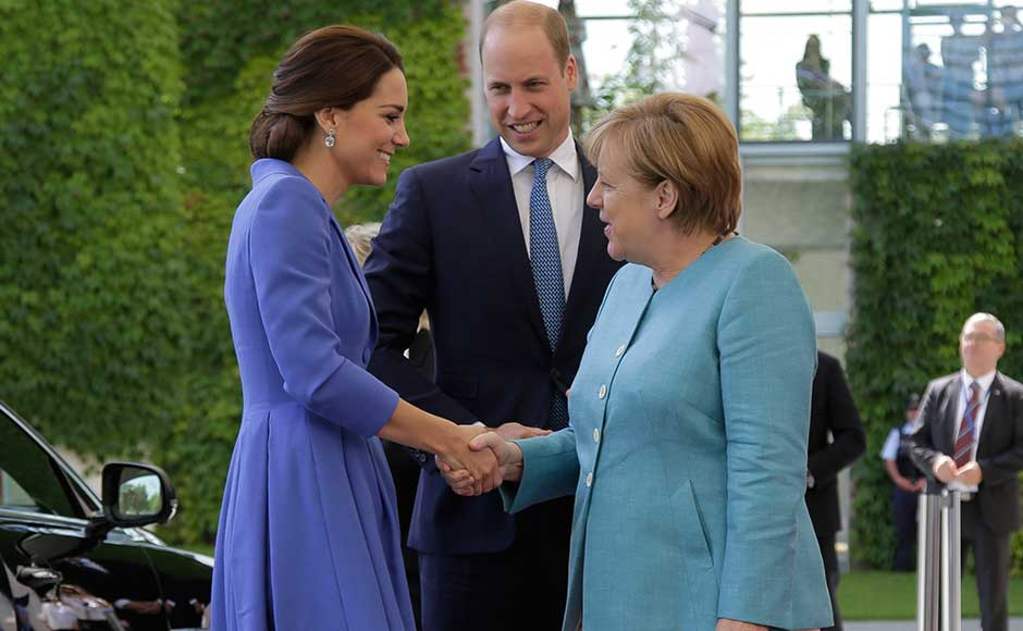 The first stop for the Duke and Duchess of Cambridge was a lunch of cod, tuna and salmon at the giant modern office complex of Chancellor Angela Merkel, widely considered the European Union's most powerful leader. AP