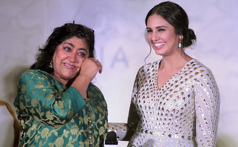 Gurinder Chadha launched the music of her film Partition:1947 in Mumbai on 4 July 2017. The film is known as Viceroy's House in other territories. Here Chadha is seen with one of her actresses from the film, Huma Qureshi. Photo: AFP