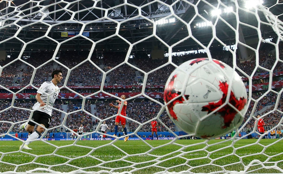 Germany's Lars Stindl, left, scored the opening and the only goal of the Confederations Cup final in the 20th minute. AP