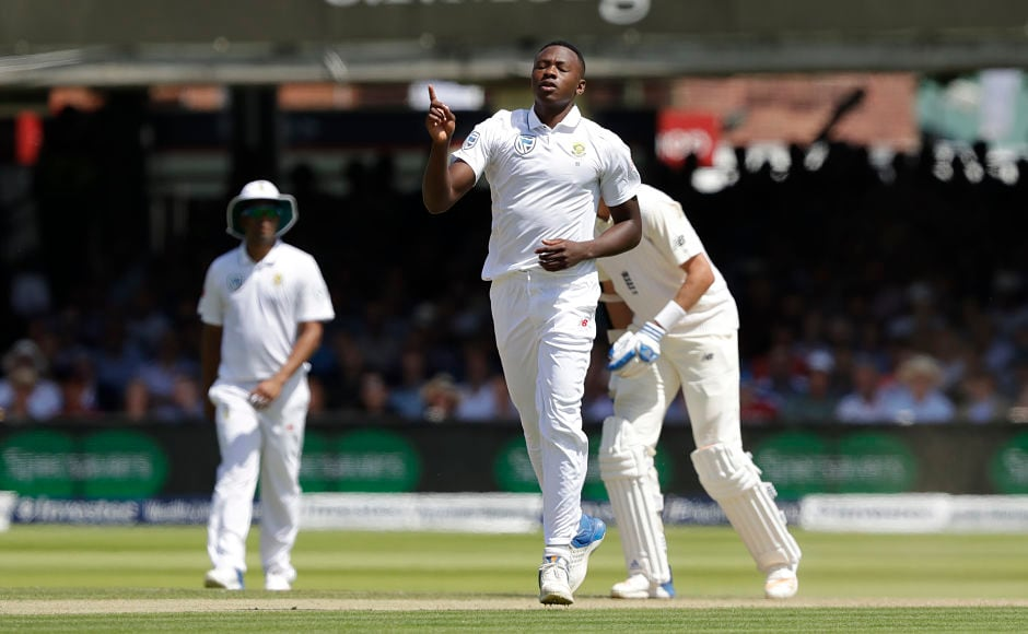Kagiso Rabada finally had reason to celebrate as he took out England's Moeen Ali before he could go on and make a century. AP