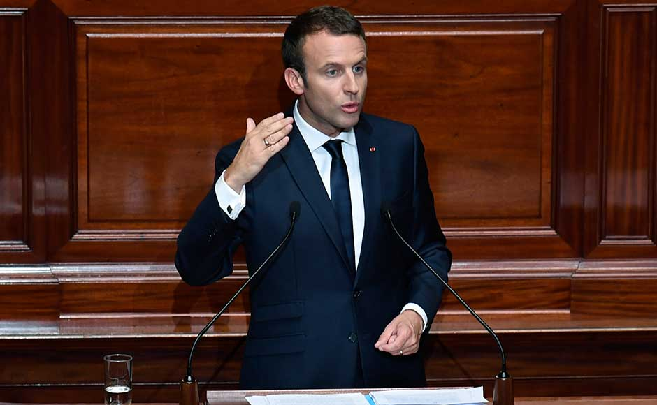 The French leader last month set out a tough new anti-terrorism law designed to allow the lifting of the state of emergency, which has been extended five times. AP
