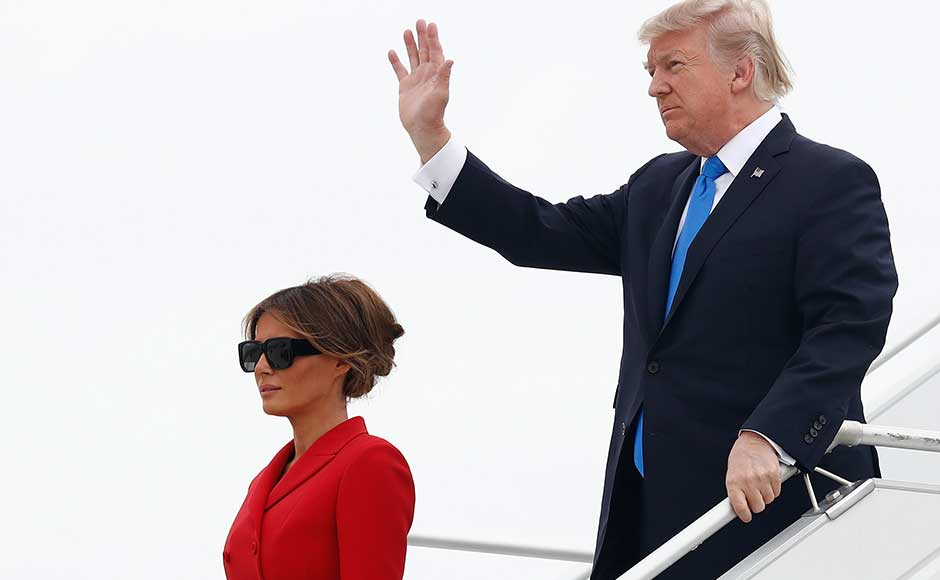 Accompanied by First Lady Melania Trump, the 71-year-old stepped onto French soil for the first time as president, hoping to leave behind weighty allegations that his family and inner circle colluded with Russia to win the 2016 US election. AP