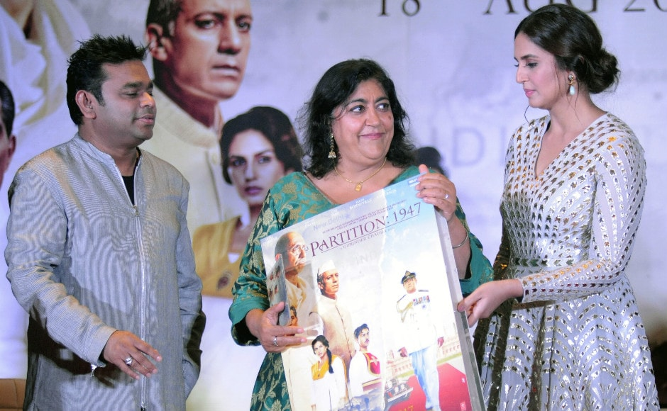 'I wanted to make a big, sumptuous looking period film. Partition is very close to my heart and through a personal story, you get the emotion. My family suffered first-hand. I personally don't have a homeland,' Chadha said to Firstpost of her film. Here, music director AR Rahman looks on as Chadha and Qureshi release the film's music. Photo: AFP