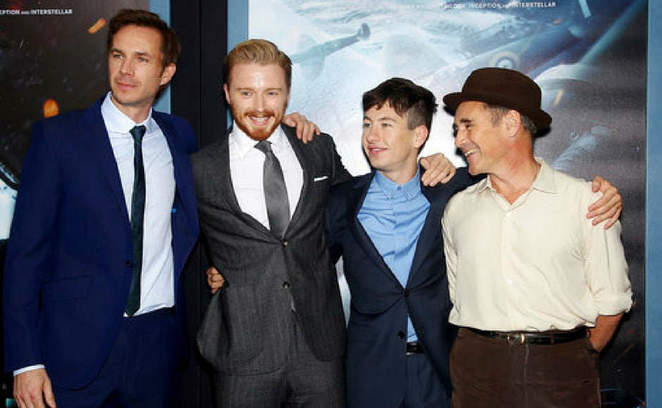 (L-R) Stars James D'Arcy, Jack Lowden, Barry Keoghan and Mark Rylance attend the premiere of Dunkirk in New York. (AP Photo)