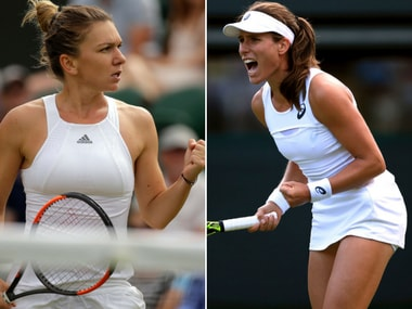 Johanna Konta and SImona Halep were involved in a spiteful Fed Cup clash. AP