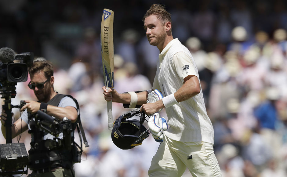 England's Stuart Broad had a good day with the bat as he scored an unbeaten 57 of 47 balls, taking England's total to 458. AP