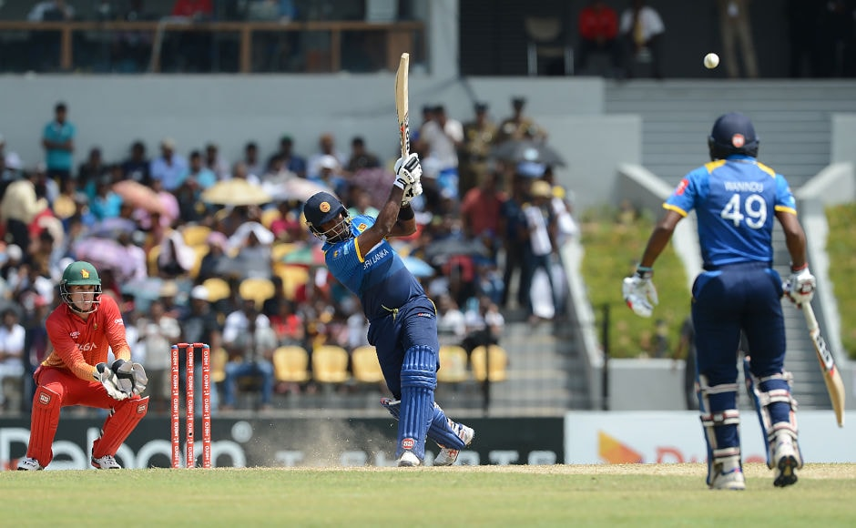 Sri Lanka captain Angelo Mathews promoted himself up the order to build on the start and had a good time, scoring 42 at better than run-a-ball. AP