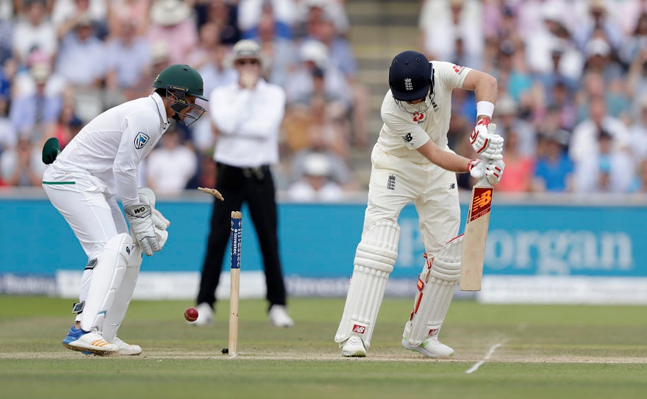 New captain Joe Root wasn't able to rescue his side as he was bowled by Keshav Maharaj for 5 runs. AP