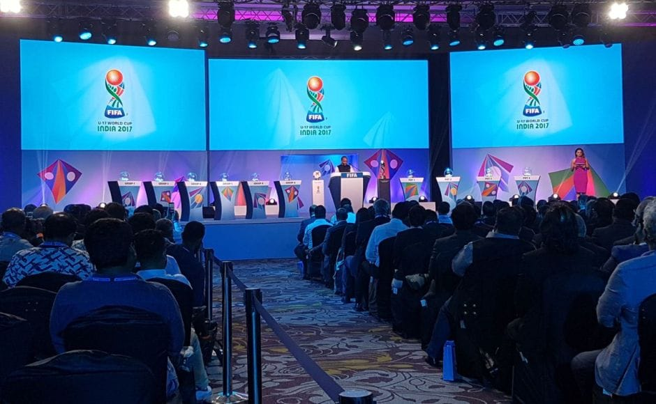 Union Sports Minister Vijay Goel speaks before the draw. Image courtesy: Twitter.com/@fifacom