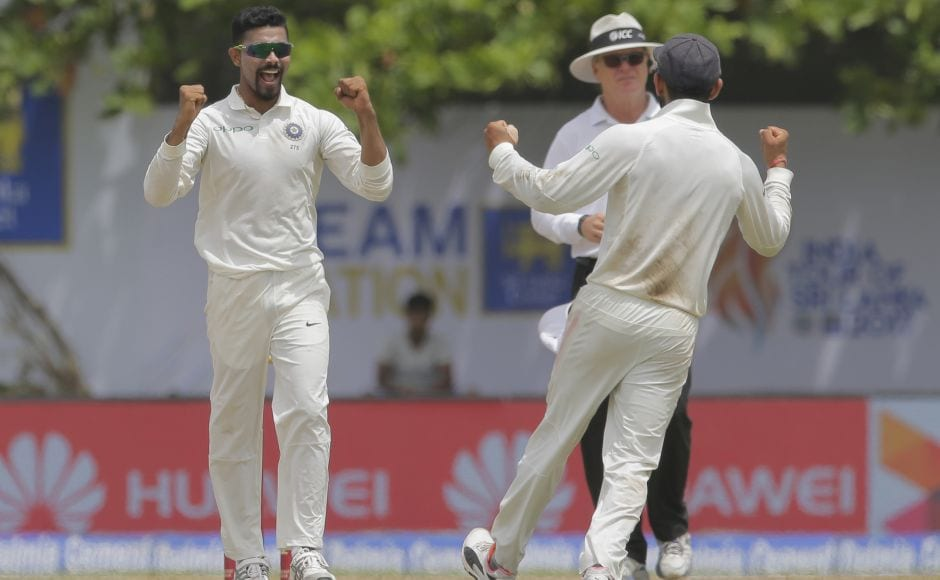 Ravindra Jadeja got his second wicket when he dismissed Angelo Mathews as Sri Lanka were reduced to 116-4. AP