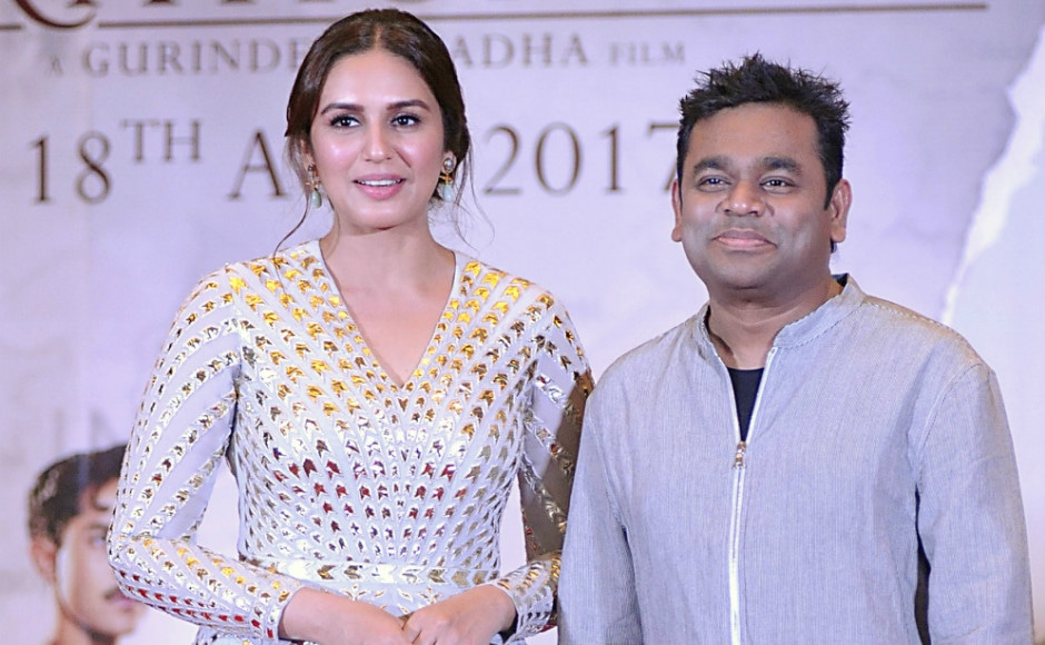 Huma and AR Rahman posed for the camerapersons gathered at the venue. Photo: AFP