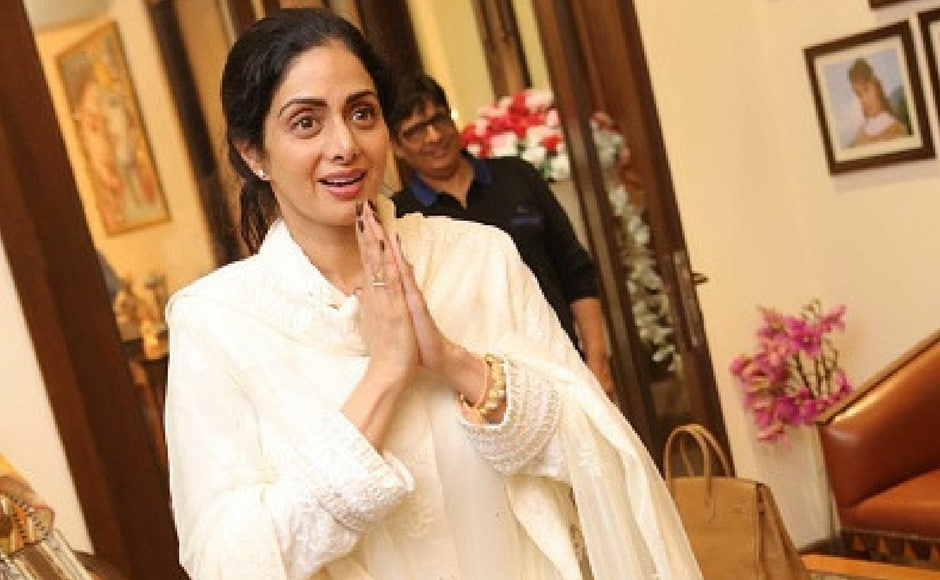 Sridevi during the private screening of the movie 'Mom' at politician Amar Singh's Chattarpur home in New Delhi, India. Mom is an Indian thriller film directed by Ravi Udyawar and produced by Boney Kapoor, Sunil Manchanda, Mukesh Talreja, Naresh Agarwal and Gautam Jain. (Getty Images)
