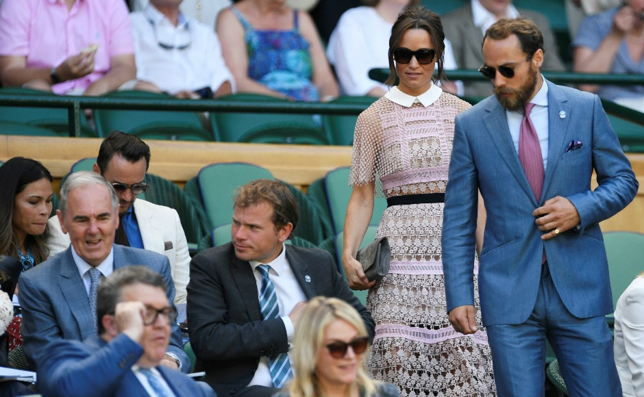 Pippa Middleton and James Middleton make their way to the Royal Box. The Middleton siblings were at Wimbledon to watch Andy Murray defend his title. Reuters Image