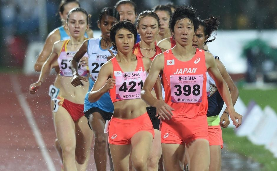 Athletes runs during the Women's 1500m event at the 22nd Asian Athletics Championships. PTI