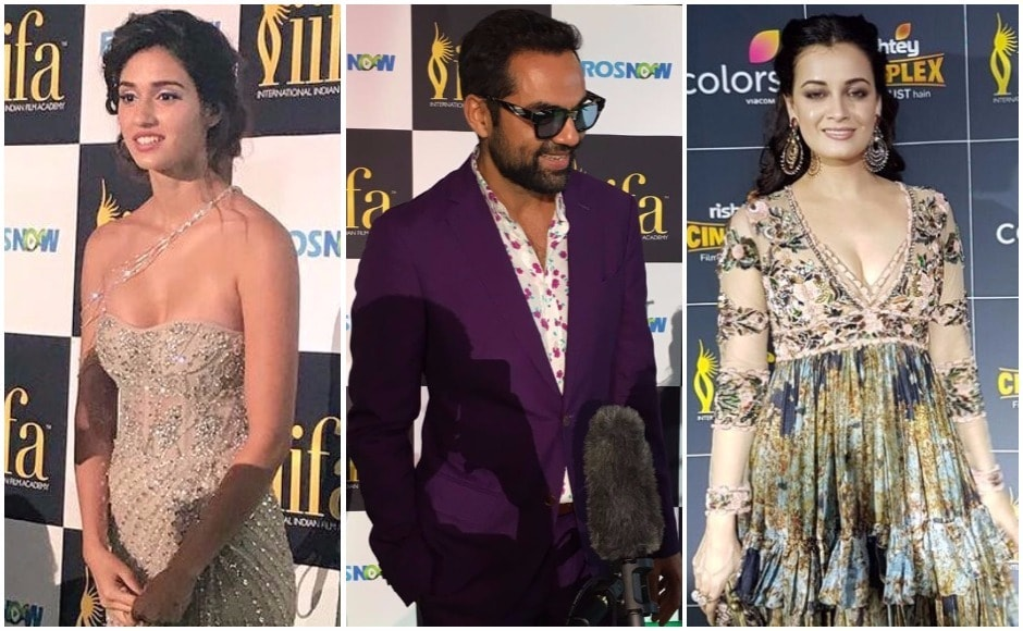 (L-R) Disha Patani, Abhay Deol and Dia Mirza on the green carpet at IIFA 2017. Images via Twitter