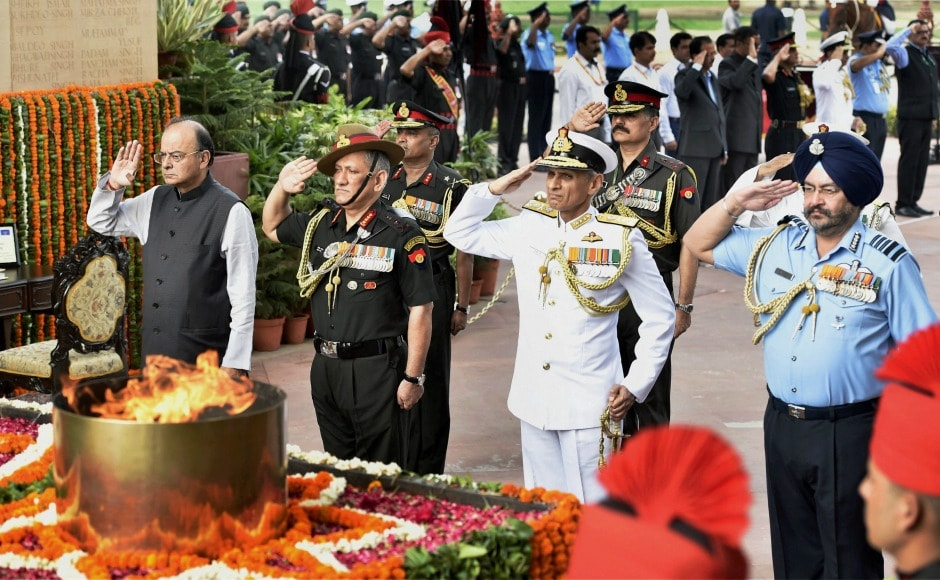 Defence minister Arun Jaitley along with Army Chief General Bipin Singh Rawat, Chief of Air Staff, Air Chief Marshal BS Dhanoa and Navy Chief Admiral Sunil Lanba paid homage to the slain soldiers at the function. PTI