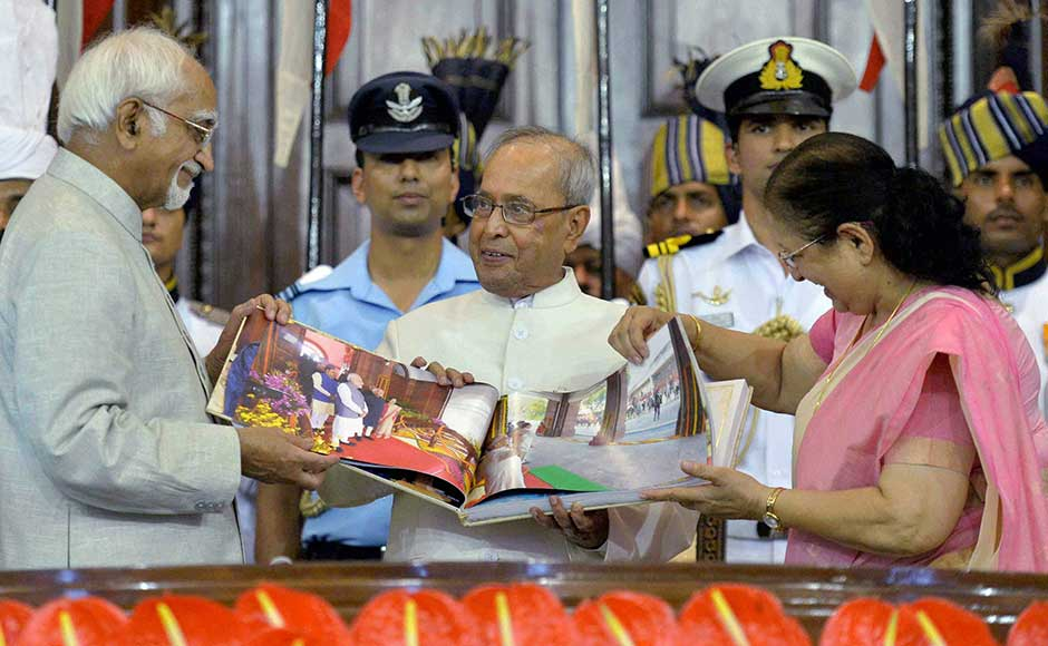 He also expressed concern over the declining amount of time spent in lawmaking, saying Parliament should adequately scrutinise and debate laws before they are enacted. Mukherjee is presented a coffee-table book by Ansari and Mahajan during his farewell ceremony. PTI